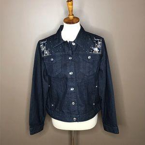 Chico's Denim Embellished Cropped Jacket Dark Wash
